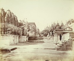 Street of temples in the Vimalavasi Tuk, looking westwards from Bhulavani, Satrunjaya